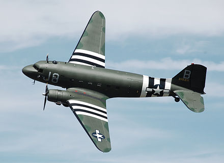 An ex-USAF C-47A Skytrain, the military version of the DC-3, on display in England in 2010. This aircraft flew from a base in Devon, England, during the Invasion of Normandy. Douglas c47-a skytrain n1944a cotswoldairshow 2010 arp.jpg