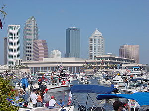 Downtown Tampa and Convention Center During Gasparilla Pirate Fest 2003.jpg