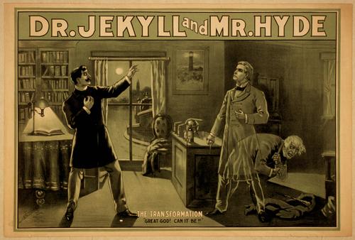 Cartel de El extraño caso del doctor Jekyll y el señor Hyde fechado en la misma década de 1880 en que apareció la obra de Robert Louis Stevenson.