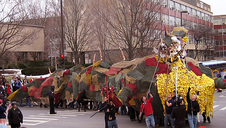 A tradition started in 1901, Dragon Day celebrates a feat by first-year architecture students to construct a colossal dragon to be paraded to center campus and then burned. Dragonday 2008.jpg