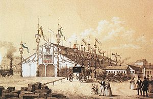 Dresden Hauptbahnhof - The opening of the temporary entrance building of the Bohemian station in 1851