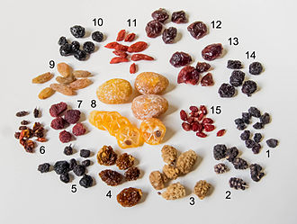 Dried fruit - Dried fruits less commonly produced: 1 zante currants, 2 black mulberry, 3 white mulberry, 4 physalis, 5 aronia (chokeberries), 6 sea-buckthorn, 7 raspberry, 8 kumquats, 9 white raisins (dried in the shade), 10 blueberries, 11 goji, 12 cherries, 13 cranberries, 14 sour cherries, and 15 barberries.