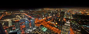 Dubai night birds eye view