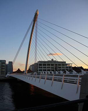 Samuel Beckett Bridge - The forward curved pylon with 31 cable stays and two back stays