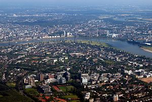 Rhine-Ruhr - Aerial view of Düsseldorf, the state capital of North Rhine-Westphalia