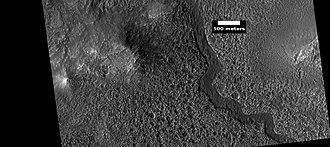 Lyot (Martian crater) - Image: ESP 045389 2295lyotchannelsbott om