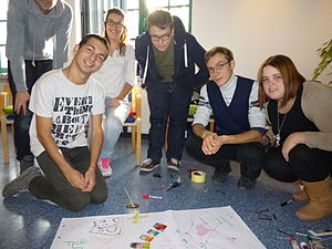 International volunteering - A group of European Voluntary Service volunteers during training.