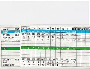 Earl Anthony - Signed and attested scratch 64 golf score by Earl Anthony