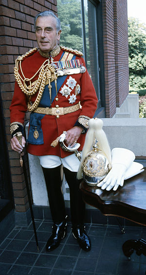 Gold Stick and Silver Stick - Earl Mountbatten of Burma, in uniform as Colonel of the Life Guards, with gold stick in hand (1973).