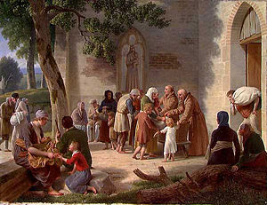 Vicelinus - Vicelinus distributes food to the needy. Oil painting by Christoffer Wilhelm Eckersberg, 1812
