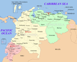 Map of Ecuador, Colombia and Venezuela