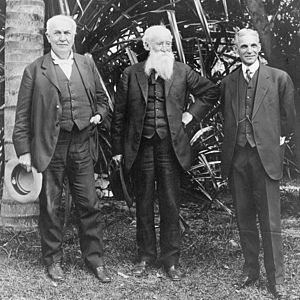 John Burroughs - Burroughs poses with Thomas Edison and Henry Ford at Edison's home in Ft. Myers, Florida, 1914.