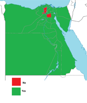Egyptian constitutional referendum, 2012 - Image: Egyptian constitutional referendum results by government, 2012