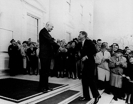 Outgoing President Dwight D. Eisenhower meets with President-elect John F. Kennedy on December 6, 1960 Eisenhower and Kennedy.jpg