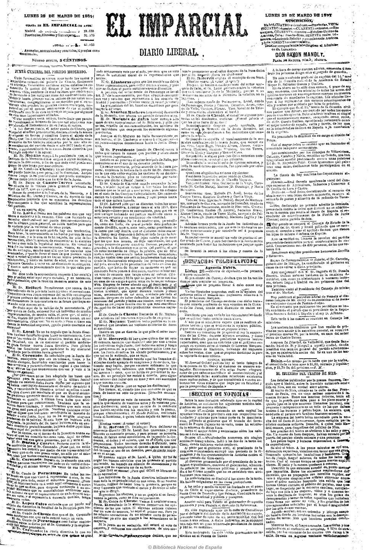 """""""Costumbres gallegas"""", primeira entrega, en El Imparcial, 28/3/1881."""