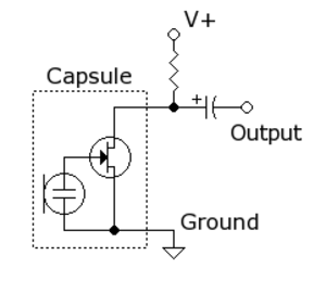 Electret microphone - Image: Electret condenser microphone schematic