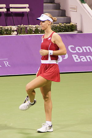Tennis at the 2008 Summer Olympics - Image: Elena Dementieva at the 2008 WTA Tour Championships