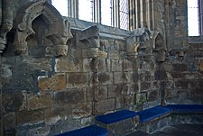 Elgin Cathedral bishop's and dignatories' seats in chapter house.jpg
