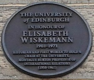Elizabeth Wiskemann - Memorial plaque at the University of Edinburgh