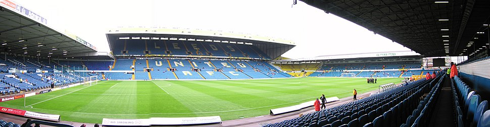 A panorama of Elland Road looking towards the East Stand