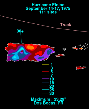 Hurricane Eloise - Rainfall totals in Puerto Rico and the U.S. Virgin Islands