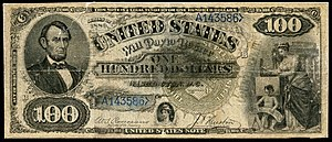Emanuel Ninger - Series 1880 Ninger drawn $100 Legal Tender Note, attributed to Emanuel Ninger (National Museum of American History).