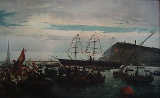 Ten Years' War - Painting: Embarkation of the Catalan Volunteers from the Port of Barcelona