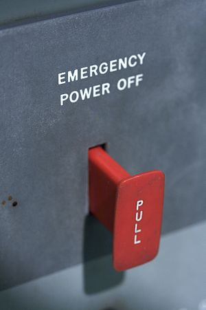 Emergency power off switch on an IBM 7094 console.