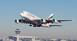Emirates Airbus A380-861 A6-EER MUC 2015 01.jpg