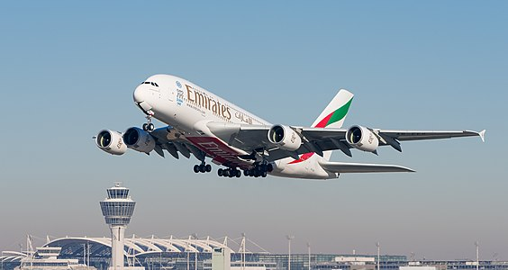 Emirates Airbus A380-861 departing 26L at Munich Airport.