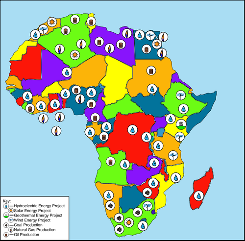 Energy Resources and Projects in Continental Africa, snapshot 2012