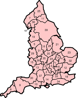 A map of the historic counties of England