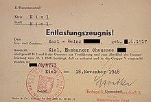 Abbildung eines Entlastungszeugnisses zum Abschluss der Entnazifizierung in Schleswig-Holstein
