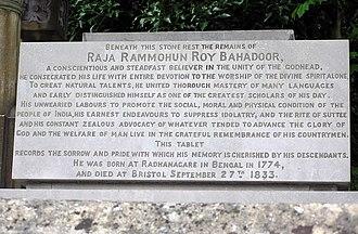 Arnos Vale Cemetery - Epitaph for Raja Rammohun Roy