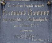 Commemorative plaque at the birthplace of Ferdinand Raimund, Mariahilferstrasse 45, 1060 Wien (Source: Wikimedia)