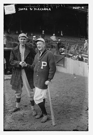 1915 World Series - Game 1 starting pitchers Ernie Shore (left) and Grover Cleveland Alexander (right).