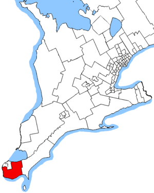 Essex (provincial electoral district) - Essex in relation to other southern Ontario electoral districts