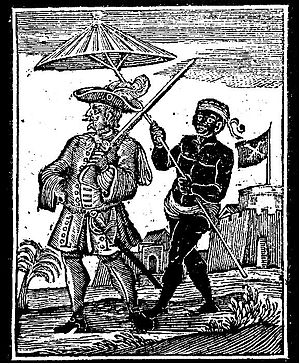 Henry Every - A woodcut from A General History of the Pyrates (1725) showing a moor escorting Captain Avery