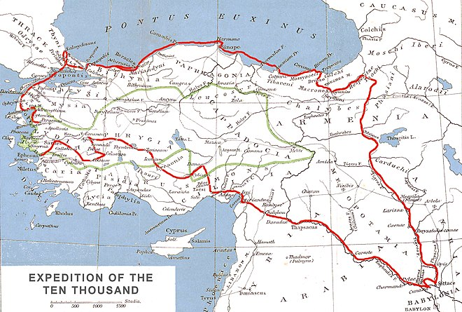 Route of Xenophon and the Ten Thousand (red line) in the Achaemenid Empire. The satrapy of Cyrus the Younger is delineated in green.