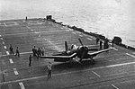 F4U-1 Corsair landing aboard USS Takanis Bay (CVE-89), circa in 1944.jpg