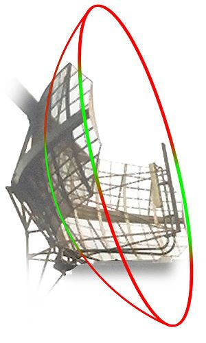 Fan-beam antenna - Circular paraboloid (red) and its truncated reflector (green).