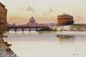 Federico Schianchi - Vedute of Tiber and Castel Sant'Angelo (watercolor).
