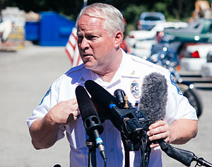 Ferguson unrest - Ferguson Police Chief Tom Jackson at the August 14, 2014 news conference