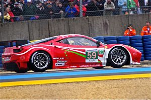 2012 24 Hours of Le Mans - The No. 59 Ferrari 458 Italia GT2 of Luxury Racing led LMGTE Pro with a second session time of 3:55.393
