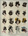 Fifteen heads of women wearing the newest fashionable head-d Wellcome V0019871.jpg