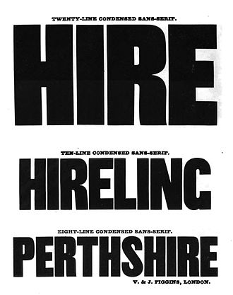 Johnston (typeface) - Vincent Figgins' nineteenth-century sans-serif capitals. Compared to many such aggressive ultra-bold and condensed typefaces, Johnston's design had  relatively even and conventional proportions of capitals and lower-case.