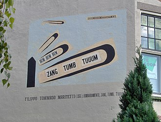 Filippo Tommaso Marinetti - Poem of Marinetti on a wall in Leiden