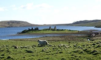 Clan Donald - Ruins of Finlaggan Castle, historic seat of the Lords of the Isles who were chiefs of Clan Donald