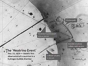 Neutrino - Image: First Neutrino Event Annotated