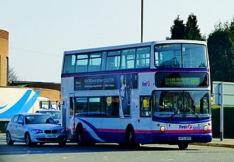First Leicester - Alexander ALX400 bodied Dennis Trident 2 in south Leicester in 2015